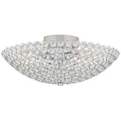 """(NEED 2 - FOR UPSTAIRS AND DOWNSTAIRS HALLWAYS) Possini Euro Design Geneva 12"""" Wide Crystal Ceiling Light"""