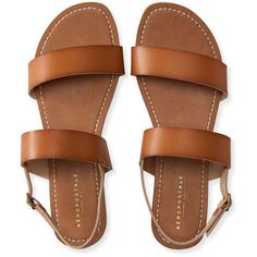 Aeropostale Double Strap Sling-Back Sandal ($15) ❤ liked on Polyvore featuring shoes, sandals, flat sandals, sapatos, flats, cognac, cognac shoes, flat shoes, cognac sandals and slingback sandals