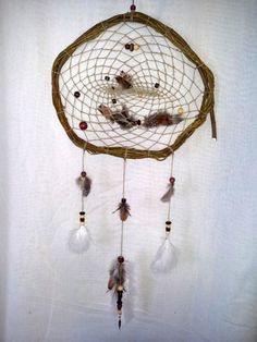 Willow, Hemp, Wood, Feathers, Glass, Steel on Etsy, $50.00