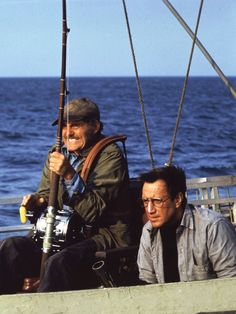 """**Jaws (1975) Roy Scheider, Robert Shaw, Richard Dreyfuss - Director: Steven Spielberg  - The sheriff of Amity has a problem: a giant shark is eating the nice people who pay his salary.  Quint: """"...You know that was the time I was most frightened? Waitin' for my turn. I'll never put on a lifejacket again. So, eleven hundred men went in the water, three hundred and sixteen men come out, the sharks took the rest, June the 29, 1945. Anyway, we delivered the bomb."""""""