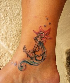 anchor star fish girlish tattoo-i might combine the water/starfish idea with a different anchor