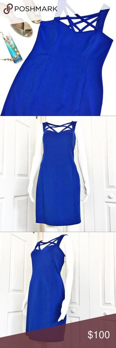 """Eliza J Cross Strap Dress Beautiful cobalt blue dress by Eliza J.  Perfect for a summer wedding or a cocktail party.  Features a sweetheart neckline, front and back cross-cross strap detail and side zip closure.  Dress is completely lined.  Material tag has been listed.  Measurements laid flat: Bust:  18"""" Waist: 16"""" Hip:  21"""" Length from top of bust to hem: 35"""" *Measurements are approximate. Eliza J Dresses"""