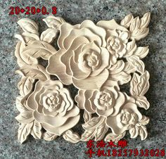 Wood flower flowers corners squares door furniture applique fashion applique wood shavings dongyang wood carving decoration