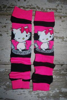 baby leg warmers hello kitty comic book hot pink por knottybabywear