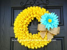 Yellow Burlap Wreath!! Perfect for Sping & Summer... Use it indoors or use it to brighten up your front porch.. Search www.etsy.com for store name poshcreationsky   .... Thanks!!!