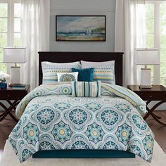 Madison Park Delta Navy 6 Pieces Reversible Cotton Sateen Printed Duvet Cover Set - Comforter Insert Not Included (King/ Cal King - Navy), Blue, Size California King (Sateen Cotton, Medallion) Queen Comforter Sets, Bedding Sets, Teal Bedding, King Comforter, Coverlet Bedding, Bedspreads, Mandala Comforter, Bedroom Comforters, Cotton Duvet