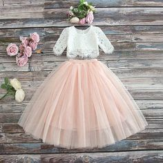 Girls Vintage Closet Lace Top & Blush Skirt Set Preorder 2 to 10 Years (Girls Easter Dresses). Girls Vintage Closet Lace Top & Blush Skirt Set *Sizes 2 currently in stock! Flower Girl Dresses Boho, Lace Flower Girls, Boho Dress, Girls Dresses, Flower Girl Tutu, Tutu Rose, Flower Crowns, Dress Girl, Baby Tutu Dresses