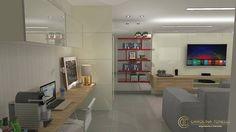 Proposta de decoração em tons neutros para sala de tv com bancada de trabalho. Muito atemporal e aconchegante.     #saladetv #salas #decoraçãoonline #decoracao #arquitetura #maquetes3d #vray #sketchup #interiores by carolina_tonelli_arquitetura