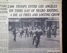 """Troops Enter Los Angeles on Third Day of Negro Rioting; 4 Die as Fires and Looting Grow"""" Source: The New York Times, August 1965 Watts Riots, Creepy Joe Biden, Collection Letter, Old Newspaper, Newspaper Dress, Criminal Justice System, New Chapter, African American History, History Facts"""