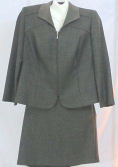 Womens Suit Jacket Skirt Size Petite 14P Zip Front Blazer Green 2 Piece Koret  #Koret #SkirtSuit