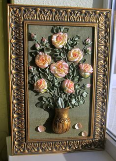 Roses in the vase Satin tea- rosesWall art with tender soses Art and collectibles fiber art home and living handmade piece textile wall art ribbon embroidery gift present interior design exceptional  craft roses in the vase cream-colour roses wall hanging embroidered picture 98.00 USD #goriani