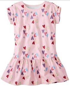 61c3d4ba7f3 Hanna Andersson Light Pink Hearts Playdress Girls 130 Multicolor US Size  8-10