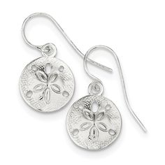 Sterling Silver Polished & Textured Sand Dollar Dangle Earrings White Earrings, Dangle Earrings, Pendant Necklace, Sterling Jewelry, Sterling Silver, Dangles, Polish, Things To Sell, Amp