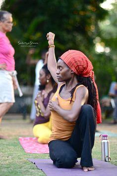 """Pose of Anpu aka Peaceful Warrior Pose"" ~ Kemetic Yoga"