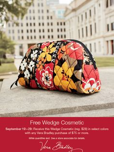 446dfeb9be2b We are giving away a free Vera Bradley Wedge Cosmetic bag with any Vera  Bradley purchase