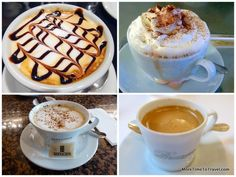 Cappuccino at bar in Bologna, Italy; cappuccino with whipped cream in Regensburg, Germany; cappuccino at Bernachon cafe in Lyon, coffee at La Mere Brazier in Lyonz (clockwise from left to right)