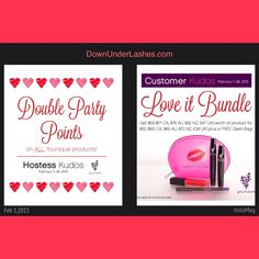 Double the love this month.  Head to www.DownUnderLashes.com to order your products.  Host a qualifying party and be the envy of other women when you get your items for FREE  Head to www.DownUnderLashes.com to host your own party