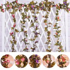Artificial Floral Flowers Leaves Home Garden Garland Hanging Craft Decoration #UnbrandedGeneric