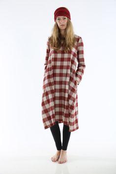 BARBARA GARAFOLA Red gingham check dress