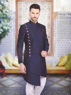 Shop Designer silk plain navy indo western online from India. Brand - Product code - Price - Color - Navy, Fabric - Silk, For Ayush Tilekar Mens Indian Wear, Indian Groom Wear, Indian Men Fashion, Mens Fashion Suits, African Fashion, Groomsmen Fashion, Groom Fashion, Men's Fashion, Sherwani Groom