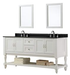 The sophistication of this mission turnleg bathroom vanity set is topped with the contrasting black granite top Set into the natural stone are double white porcelain under-mount sinks This pearl white finish wood double vanity cabinet features 2 double-door cabinets located on both sides while