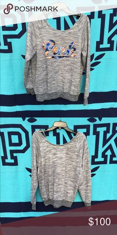 VS Marled Grey Slouchy!🌺 Marl grey slouchy ! EEUC ! Floral print letters! Up for offers & trades 🌞 PINK Victoria's Secret Sweaters Crew & Scoop Necks