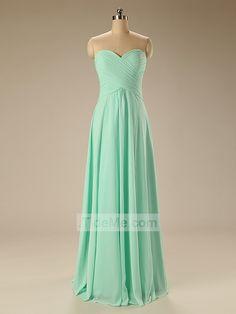 Simple Mint Green Cheap Pretty Chiffon Sweetheart Sheath Long Bridesmaid Dress Prom Dress Evening Dress