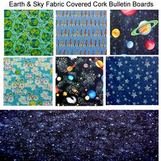 Fabric Covered Cork Bulletin Boards. Just an example of some of the  fabrics available in EARTH & SKY at  www.PushPinsAndFabricCorkBoards.com  to make a custom, unique, FABRIC COVERED CORK BULLETIN BOARD to match your decor, as a gift to someone who loves the cosmos, a collage of wall art. Boards are available four standard sizes, add coordinating or contrasting message ribbons and Top it off with matching or DECORATIVE PUSH PINS in the Decorative Push Pins department…