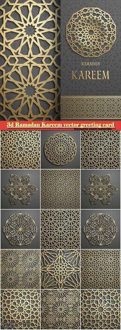 3d Ramadan Kareem vector greeting card, invitation islamic golden pattern
