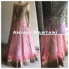 Beautifully decorated pink anarkali by anjali mahtani