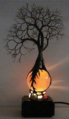 Wire Tree Of Life Ancient Grove Spirits sculpture on natural Orange Selenite Full Moon Sphere Gemstones Lamp! smile emoticon  By, Kristin Rebecca