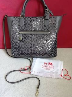 NWT COACH Poppy Signature Sequin Small Blaire Tote Handbag Purse Shimmering Grey #Coach #Shopper