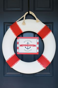 Personalized Nautical Welcome Sign (Red Nautical Party, Nautical Baby Shower, Welcome Aboard Sign, B Girl 2nd Birthday, Boy Birthday Parties, Girl Parties, Birthday Ideas, Nautical Party, Party Entertainment, 1st Birthdays, Childrens Party, Party Planning