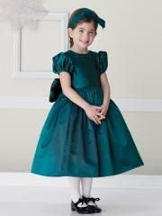 Classical Ball Gown Tea-Length Hunter Silky Taffeta Girl Outwear of Puff Short Sleeves and Bow Tie