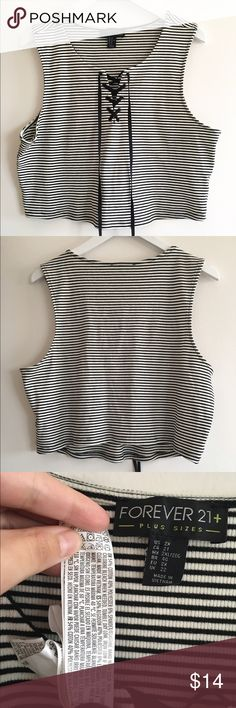 """Striped plus crop top In my opinion runs small  20"""" wide  Little stretchy  19"""" long Forever 21 Tops Crop Tops"""