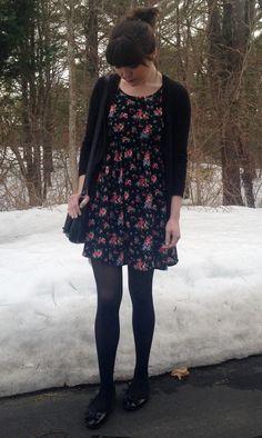 #floraldress #cardigan #spring #snow