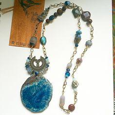 Dragon Vein Agate Long Medallion Necklace by Take Flight Studio (this is my favorite piece!) https://www.etsy.com/shop/TakeFlightStudioWA