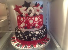 Black, red and white birthday cake