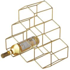 Dot & Bo Hex Wire Wine Rack in Gold found on Polyvore featuring home, kitchen & dining, bar tools, vintage wine rack, wire wine rack, wire wine bottle holder and vintage bar tools