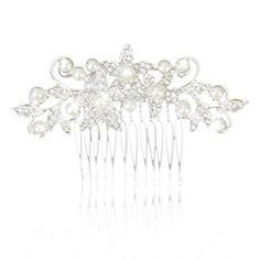 MagiDeal Bridal Wedding Faux Pearl Floral Rhinestone Hair Comb Hair Accessory >>> Read more reviews of the product by visiting the link on the image.(This is an Amazon affiliate link)