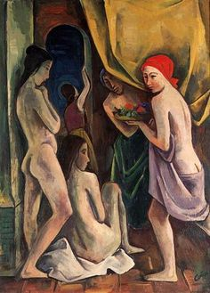 "Karl Hofer ""Women in the Room"", 1919 (Germany, Expressionism, 20th cent.)"