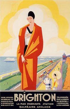 Brighton Travel Poster Print Vintage Art Deco by FoxgloveMedia Posters Uk, Art Deco Posters, Poster Prints, Railway Posters, Art Deco Illustration, Art Nouveau Pintura, Poster Retro, Tourism Poster, Inspiration Art