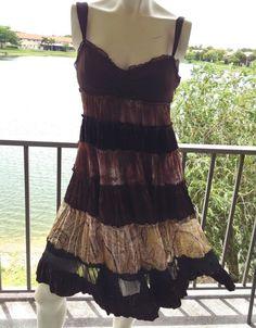 Dress, Boho by BCBGMAXAZRIA, Sz 4, Silk Tiers, Browns Beautiful EUC #BCBGMAXAZRIA #EmpireWaist #Casual