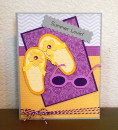 """Cricut Pack Your Bags Summer Card using CDD """"Summer Lovin'"""" stamp set"""