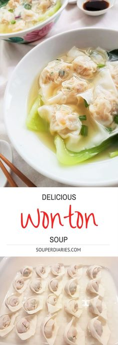 Pork prawn wontons with fresh veggies in a homemade chicken stock base. Simply delicious!