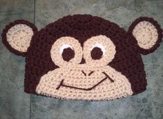 Monkey Hat  Add Bow or Flower FREE  Crochet by WarmFuzzyBoutique