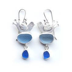 Birds with blue sea glass earrings by Tania Covo