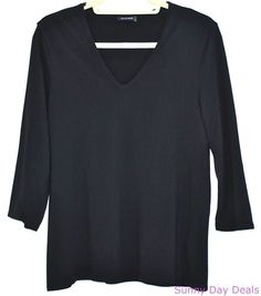 Magaschoni Jersey Tee V-Neck Black 3/4 Sleeves Knit Shirt Solid Casual L XL #Magaschoni #KnitTop #Casual