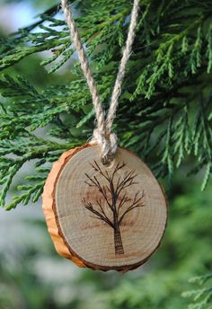 set of 5 rustic, wood-burned, birch wood ornaments by ThePeddlersShed on Etsy https://www.etsy.com/listing/210617611/set-of-5-rustic-wood-burned-birch-wood