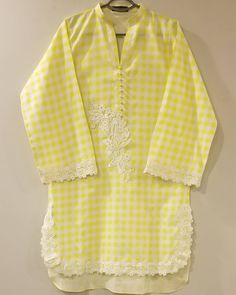 Neon yellow tunic with lace detailing is perfect choice for summers Beautiful Pakistani Dresses, Pakistani Formal Dresses, Pakistani Fashion Casual, Pakistani Dress Design, Salwar Neck Designs, Neck Designs For Suits, Sleeves Designs For Dresses, Kurta Designs Women, Stylish Dresses